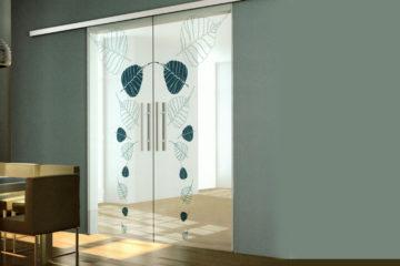 Стеклянные раздвижные двери (с закрытым механизмом)