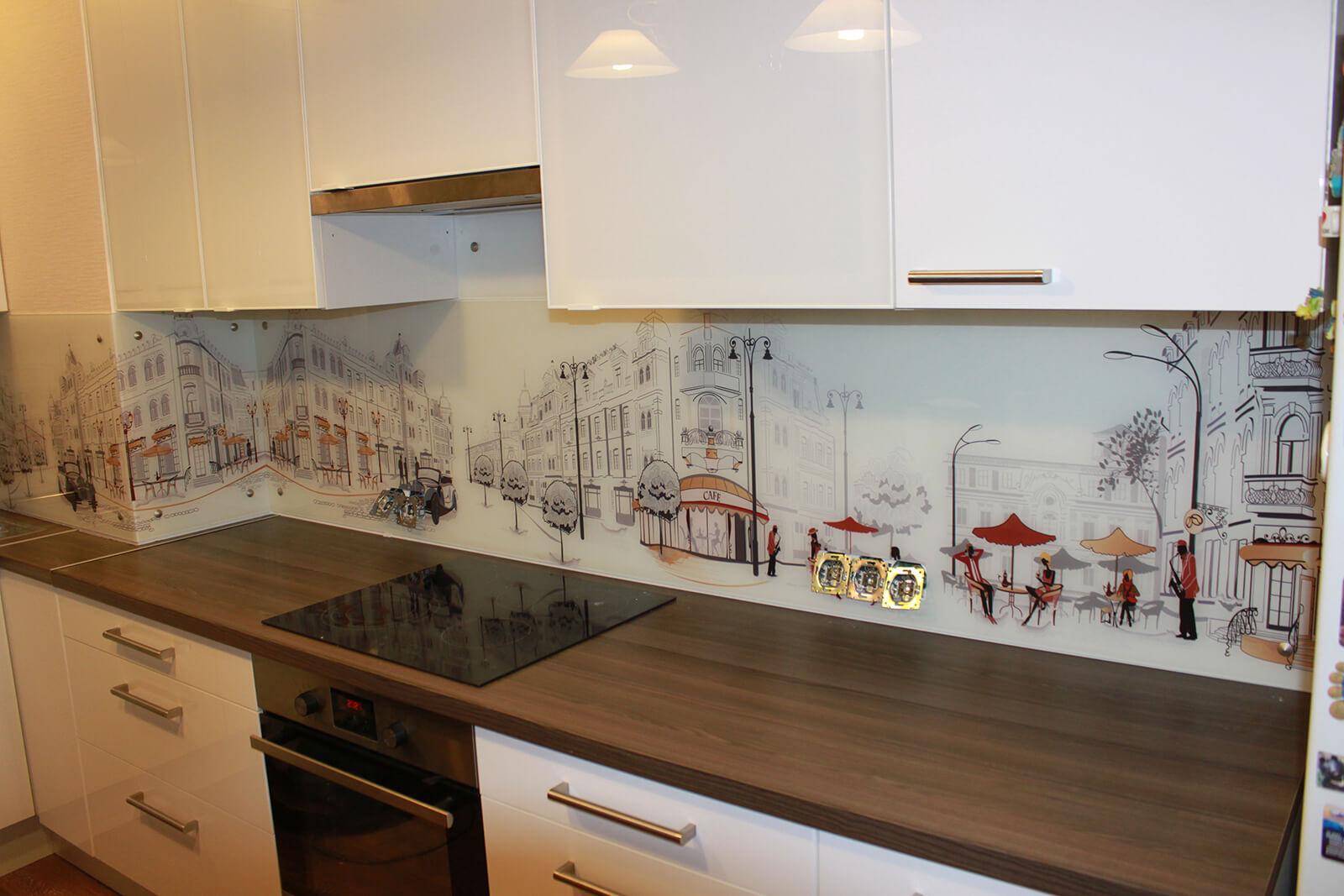 Готовые фартуки для кухни с рисунком